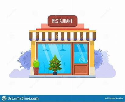 Restaurant Exterior Winter Facade Eve Holiday Building