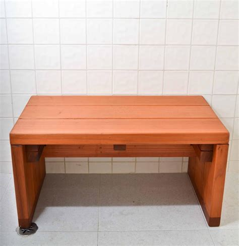 modern wood shower bench  redwood