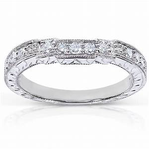 Antique Round Diamond Wedding Band For Her In White Gold