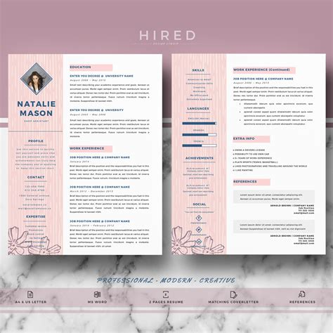 Creative Resume Templates Free Word by Creative Resume Template For Ms Word Quot Natalie Quot Hired