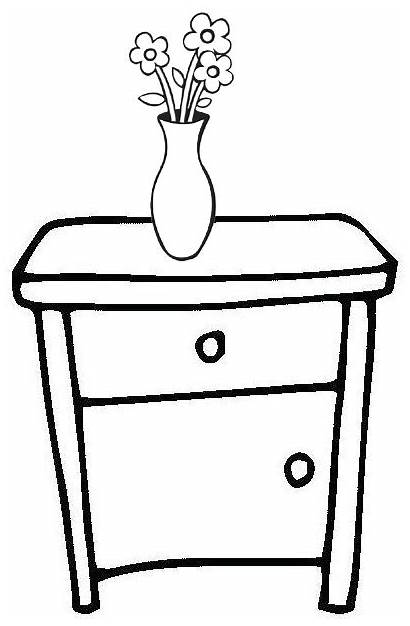 Table Coloring Pages Bedside Vase Flower Simple