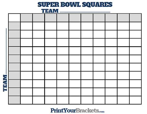Printable Superbowl Squares Template by Printable Bowl Squares 100 Square Grid Office Pool