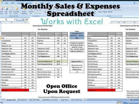 monthly sales  expenses spreadsheet summarizes etsy