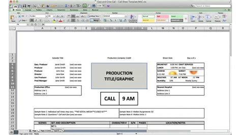 call sheet template cast  crew call youtube