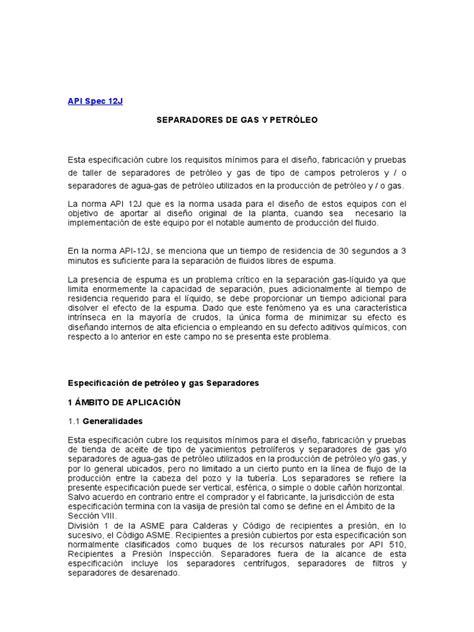 Norma API 12J Español | Petróleo | Presión