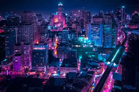80s Neon City Wallpaper by Aerial Explorations Of International Cityscapes Washed In