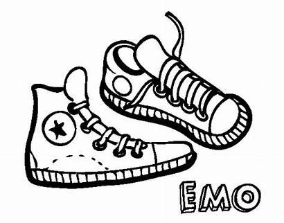 Sneakers Coloring Colorear Coloringcrew Emo
