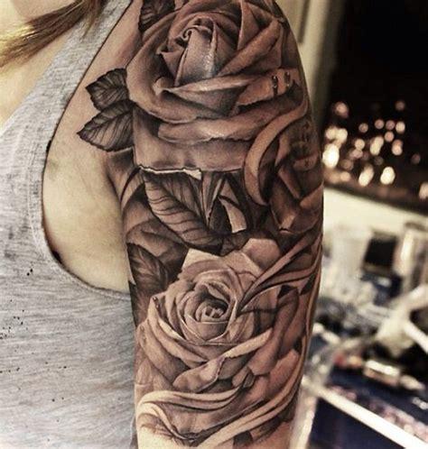 grey ink roses tattoos  girl left  sleeve