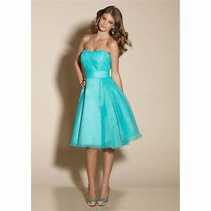 bridesmaid dresses turquoise | Line Strapless Sashes Knee ...