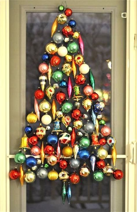 christmas tree made out of ornaments into vintage pin to vintage
