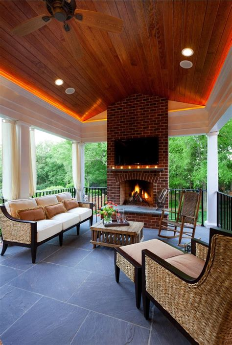 Outdoor Living Room Furniture For Your Patio by Porch Design Ideas Inviting Porch With Fireplace