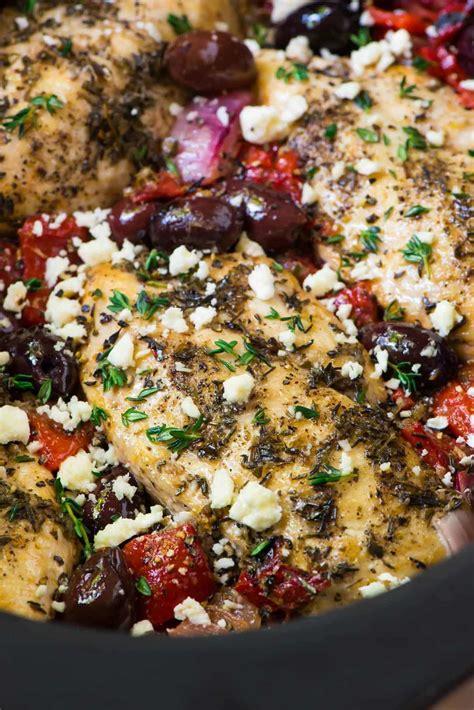 slow cooker greek chicken recipe  plated  erin