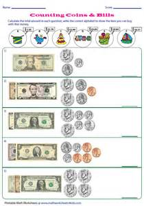 Counting Dollar Bills and Coins Worksheets