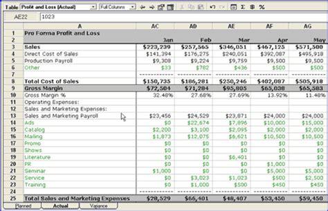 plan  actual part  cash flow  profit  loss