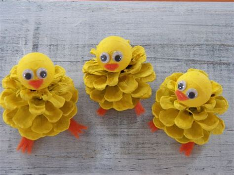 Chick Peeps, Pine Cone Easter Craft Ornament, Pine Cone