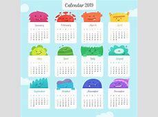 Colourful 2019 Cute Yearly Calendar MaxCalendars