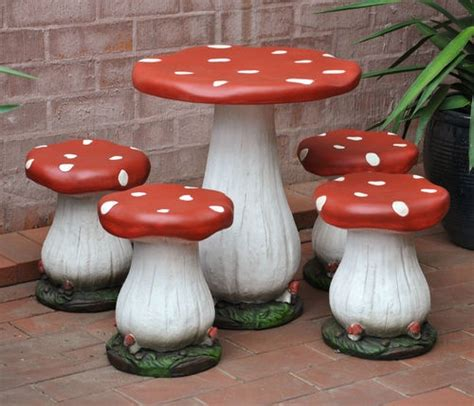 mushroom table and chairs set toadstool table and four chairs childrens setting mushroom