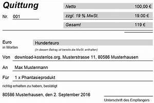 Mehrwertsteuer In Excel Berechnen : quittungsvorlage kostenlos gratis download f r word ~ Themetempest.com Abrechnung
