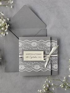 custom listing20 ivory lace wedding invitations grey With lace pocket wedding invitations uk