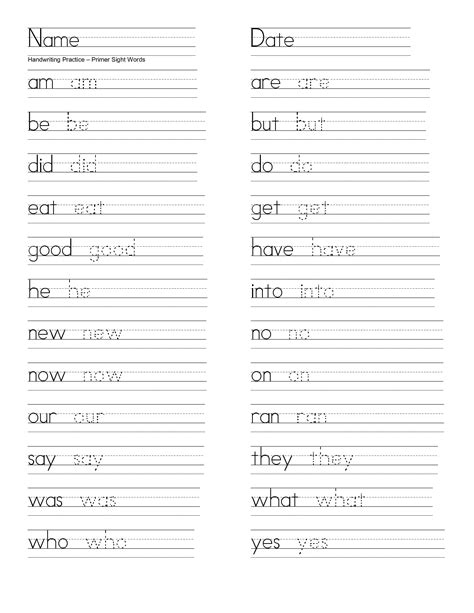 Sight Word Writing Practice Sheets  Sight Word Writing Worksheets For Kindergarten 21 Free Esl