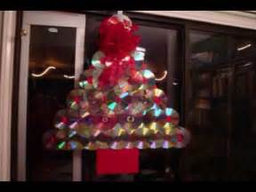 how to make a christmas tree door decoration with old compact discs youtube