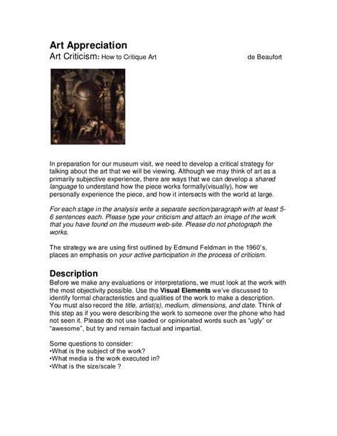Lowe, casey final thesis portfolio, final presentation. Art Criticism Instructions