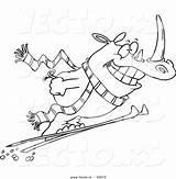 Ski Coloring Slope Skiing Cartoon Outline Template Rhino sketch template