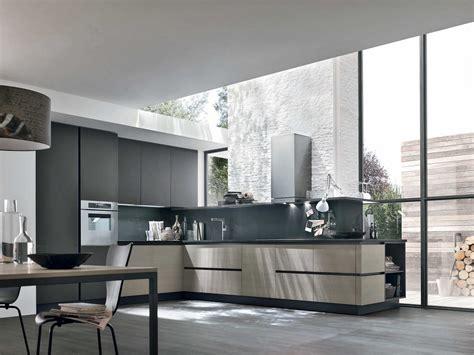 cuisine gris et cuisine moderne sans poignées