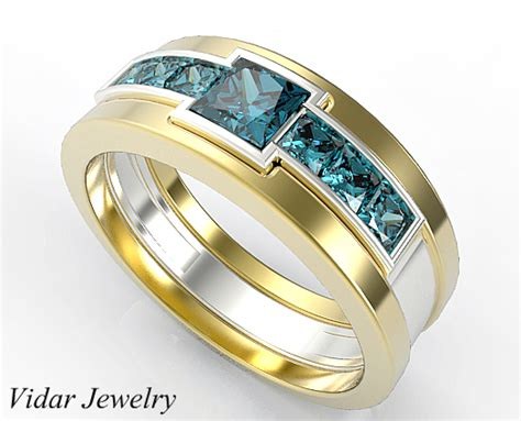 two tone gold mens wedding band with 1 40 ct princess cut