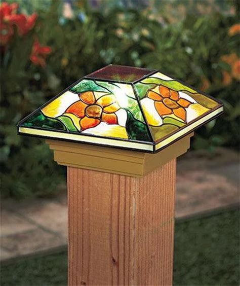 stained glass solar lights solar fence post cap deck porch light w stained glass look