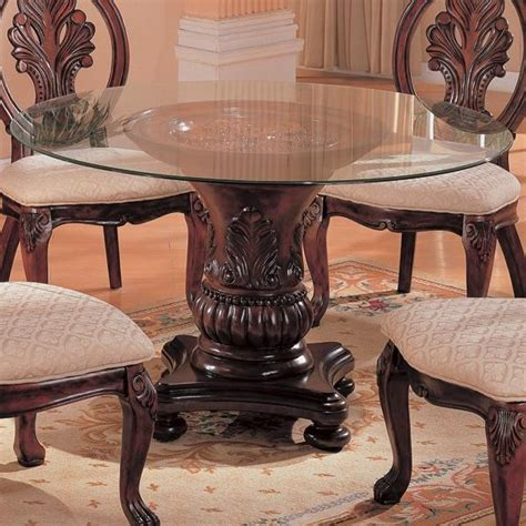 tabitha traditional  dining table  glass top