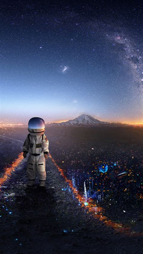 Download Astronaut Creative Artwork 480x854 Resolution