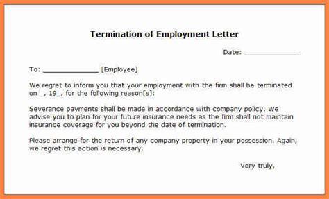 employment termination notice sample notice letter