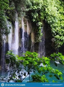 Beautiful, Blue, Waterfall, Between, Green, Trees, Stock, Image