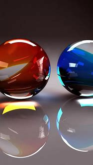 3D two balls from glass - red and blue balls Wallpaper ...