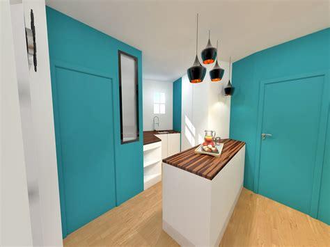 cuisine entree aménagement gain de place suppression couloir pour cuisine petit appartement