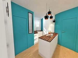 amenagement gain de place suppression couloir pour cuisine With porte d entrée pvc avec amenagement de salle de bain avec douche