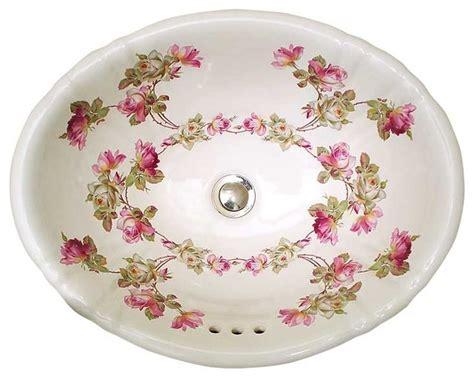 hand painted bathroom sinks heirloom roses hand painted sink traditional bathroom