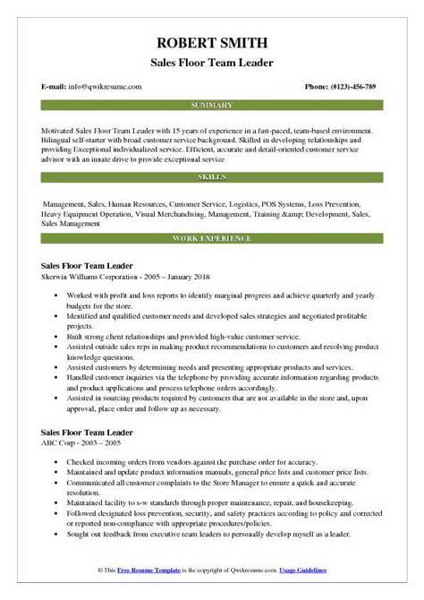 Resume Build Relationships by Sales Floor Team Leader Resume Sles Qwikresume