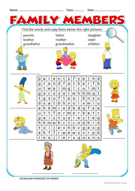 worksheets about family members worksheet exle