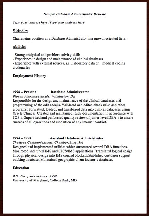 Free Resume Builder Reviews by Here Is The Free Sle Database Administrator Resume You