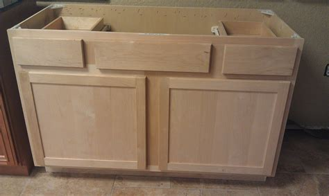 unfinished shaker style  wood cabinets  stock