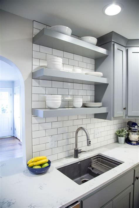 brite white subway tile  classic french gray shaker