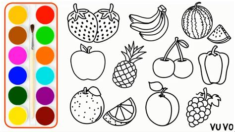 fresh fruits drawing  coloring pages  kid  youtube
