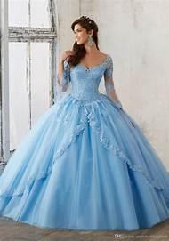 2017 Sky Blue Long Sleeve Elegant Ball Gown Girls Quinceanera Dresses with  Lace Appliques Vestidos De 5425beab0d22