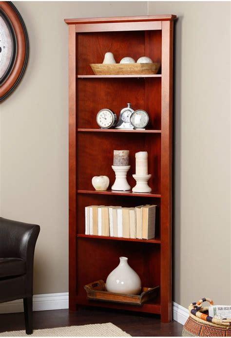 corner book shelves corner bookcase redford cherry