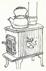 Stove Coloring Sketch Sketches Wood Cottage Template Fire Kettle British Rae Gordon Columbia Jessica sketch template
