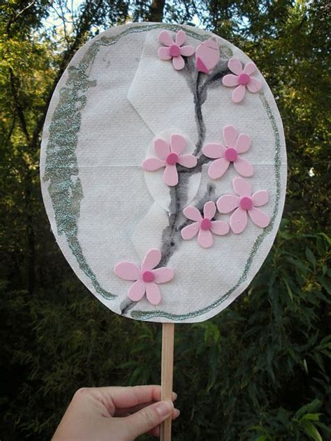 coffee filter japanese fan  cherry blossoms