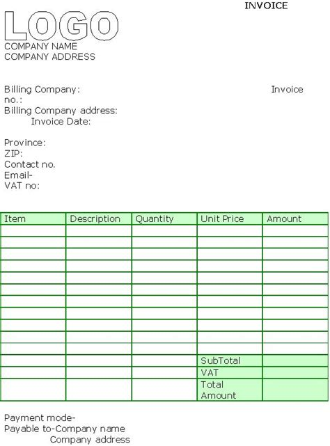 contractor invoice template uk invoice