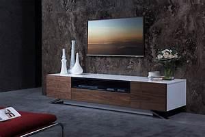 Modrest Gillian Contemporary White  U0026 Walnut Tv Stand